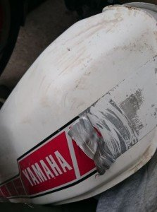 Yamaha RD250 Tank ready for re-sculpting