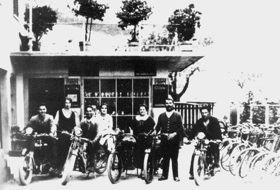The family bicycle and motorcycle workshop in the early 1900's