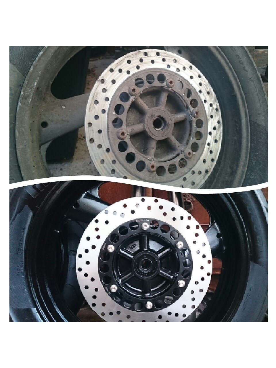 Before and after pics of the wheels