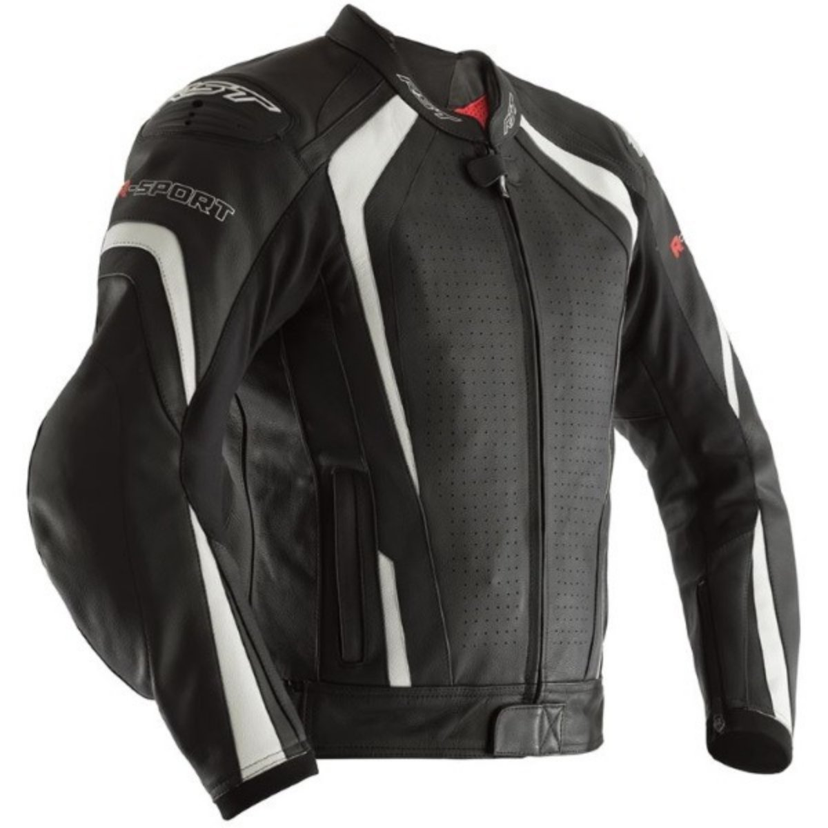 RST R-Sport CE Mens Black/White Leather Motorcycle Jacket