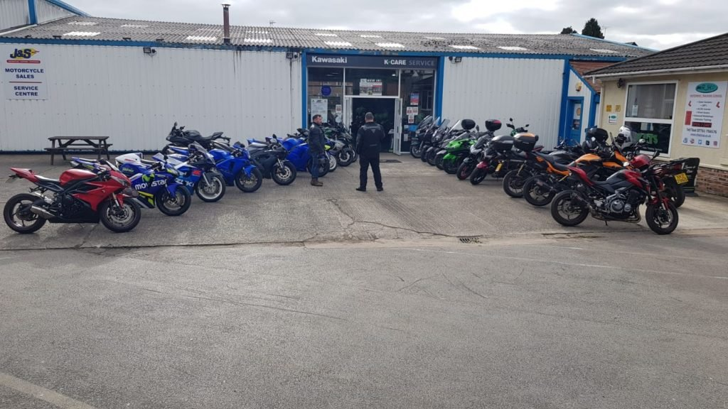 Bikes lined up ready for the event