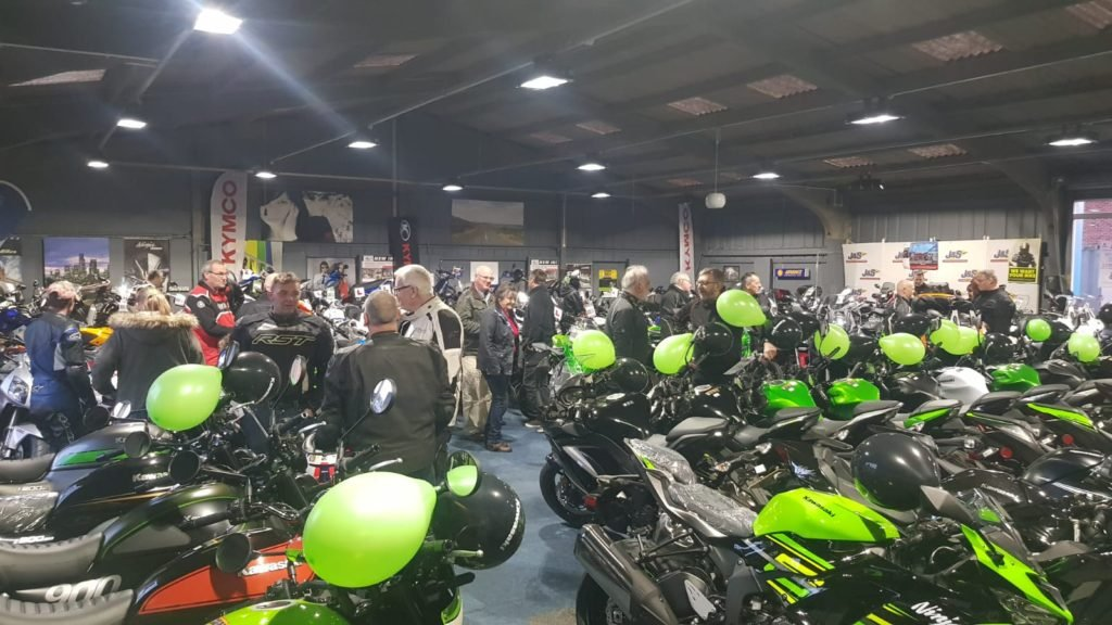 Busy motorcycle showroom