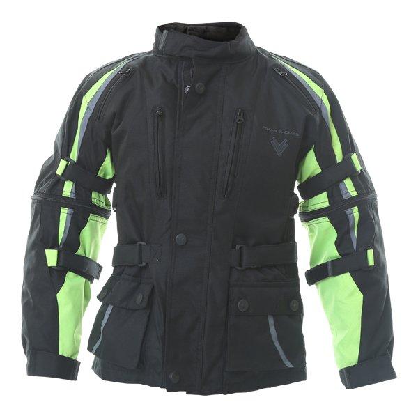 Frank Thomas Krag Kids Black Yellow Textile Motorcycle Jacket Front