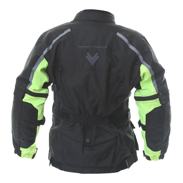 Frank Thomas Krag Kids Black Yellow Textile Motorcycle Jacket Back