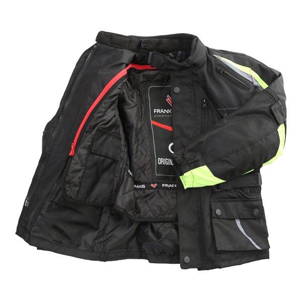 Frank Thomas Krag Kids Black Yellow Textile Motorcycle Jacket Inside