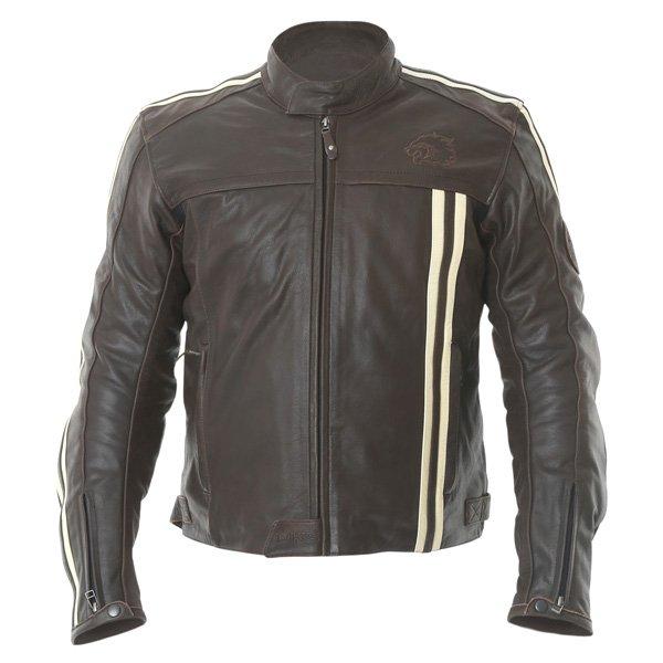 BKS BKS009 London Vintage Brown Leather Motorcycle Jacket Front