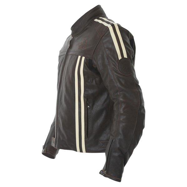 BKS BKS009 London Vintage Brown Leather Motorcycle Jacket Side