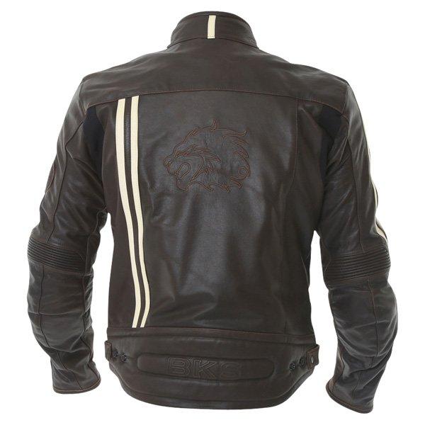 BKS BKS009 London Vintage Brown Leather Motorcycle Jacket Back