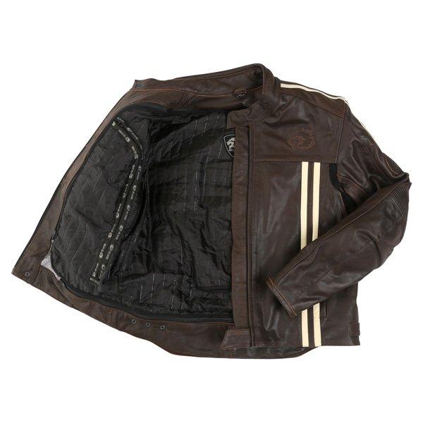 BKS BKS009 London Vintage Brown Leather Motorcycle Jacket Inside