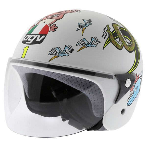 AGV Valentino Rossi 46 White Zoo Full Face Motorcycle Helmet Front Left