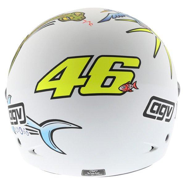 AGV Valentino Rossi 46 White Zoo Full Face Motorcycle Helmet Back