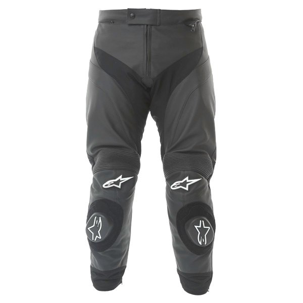 Alpinestars Gp Plus Black Leather Motorcycle Jeans Front