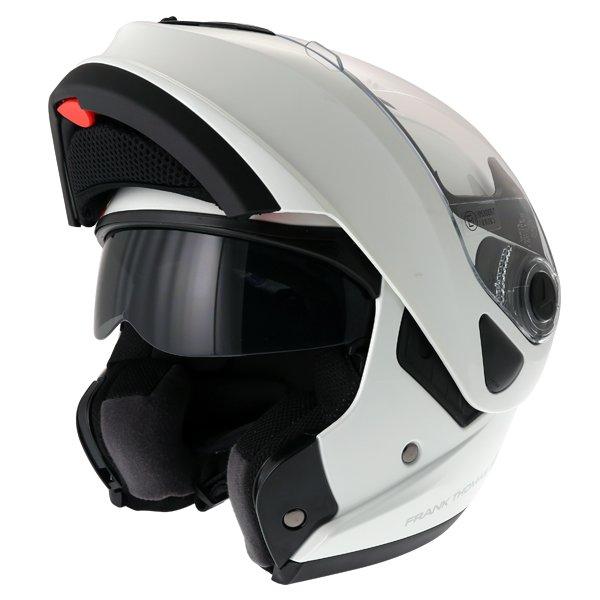 Frank Thomas DV06 White Flip Front Motorcycle Helmet Flip Open