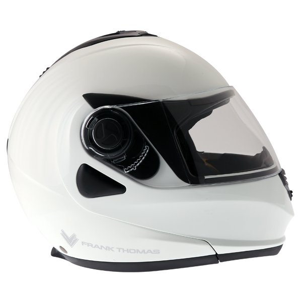 Frank Thomas DV06 White Flip Front Motorcycle Helmet Right Side