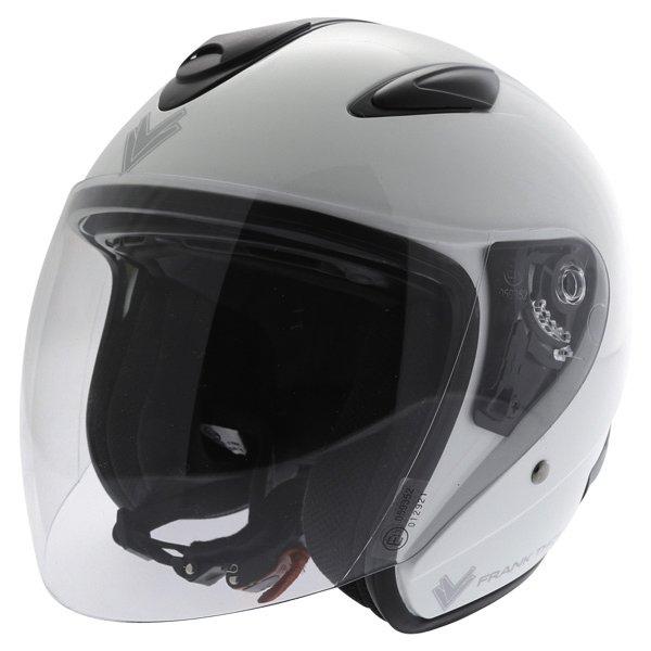Frank Thomas DV28 Open Face White Open Face Motorcycle Helmet Front Left