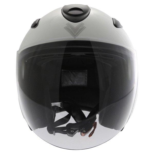Frank Thomas DV28 Open Face White Open Face Motorcycle Helmet Front