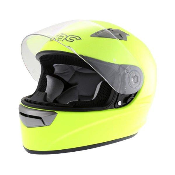 KBC VR Yellow Full Face Motorcycle Helmet Open With Sun Visor