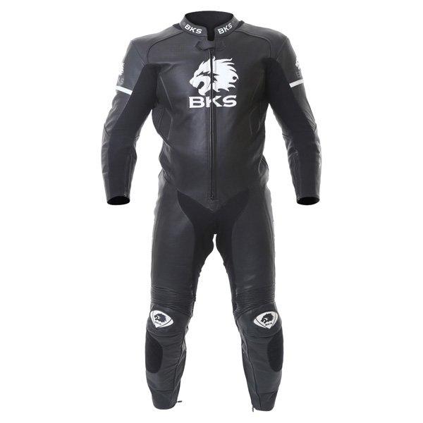 BKS Tiger II Single Zip Mens Black Leather Motorcycle Suit Front