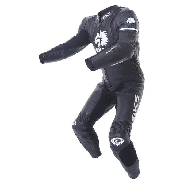 BKS Tiger II Single Zip Mens Black Leather Motorcycle Suit Racing crouch
