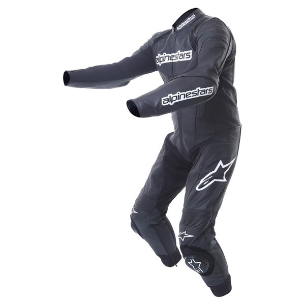 Alpinestars Carver 1pc Mens Black Leather Motorcycle Suit Racing crouch