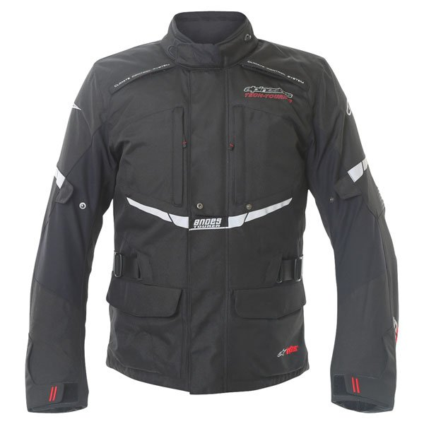 Alpinestars Andes Drystar Mens Black Waterproof Textile Motorcycle Jacket Front