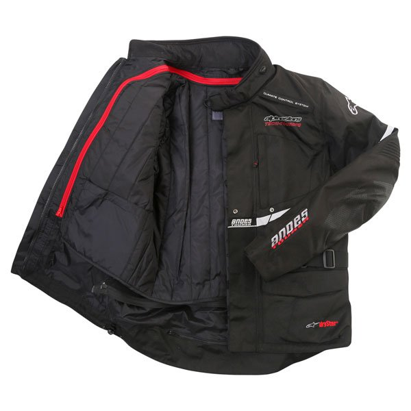 Alpinestars Andes Drystar Mens Black Waterproof Textile Motorcycle Jacket Inside