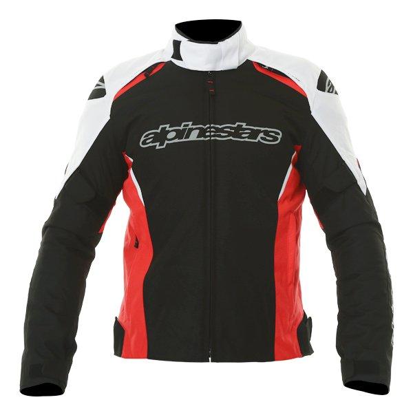 Alpinestars Gunner Mens Black Red White Waterproof Textile Motorcycle Jacket Front