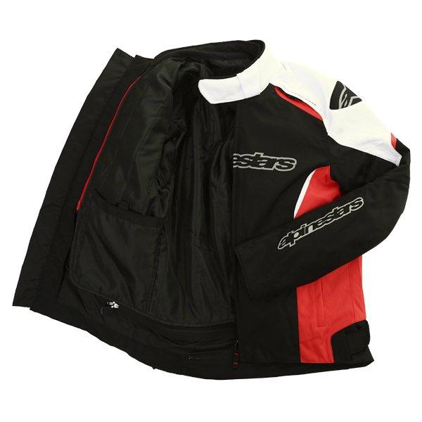 Alpinestars Gunner Mens Black Red White Waterproof Textile Motorcycle Jacket Inside