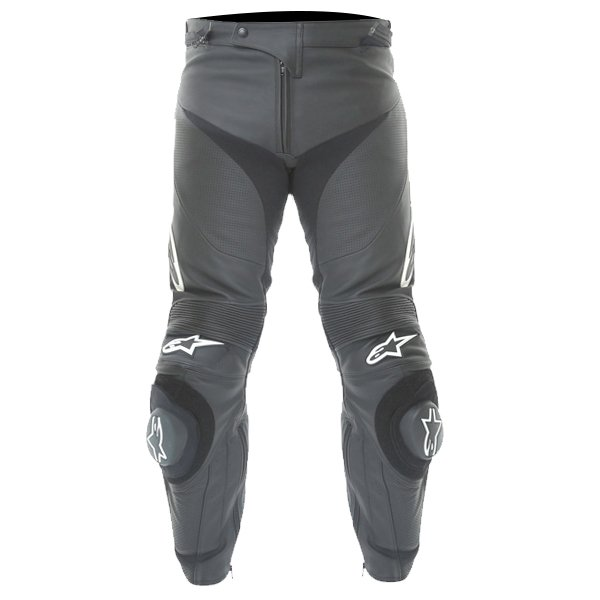 Alpinestars Track 2013 Black Leather Motorcycle Jeans Front