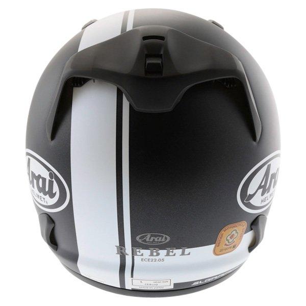 Arai Rebel Base White Full Face Motorcycle Helmet Back