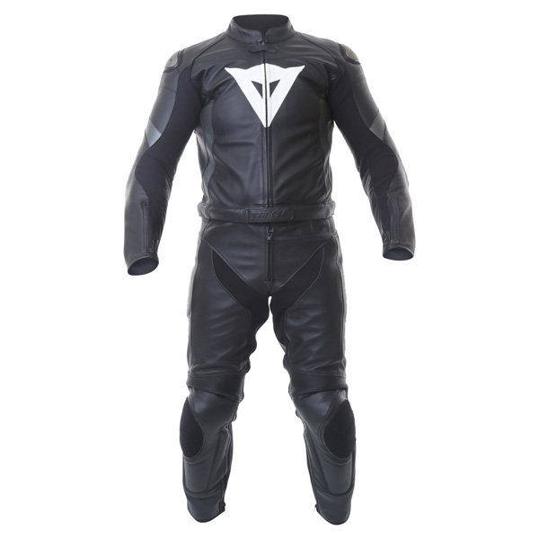 Dainese Crono Div Mens Black Gun Leather Motorcycle Suit Front