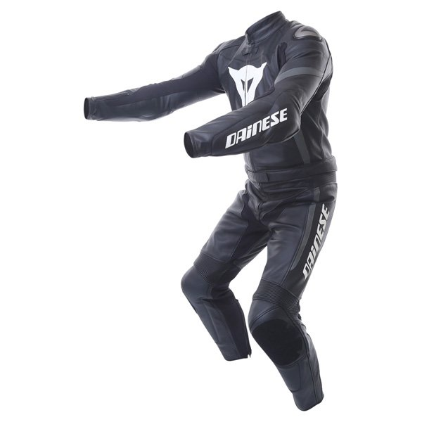 Dainese Crono Div Mens Black Gun Leather Motorcycle Suit Racing crouch