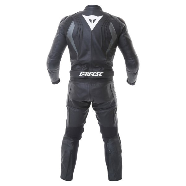 Dainese Crono Div Mens Black Gun Leather Motorcycle Suit Back
