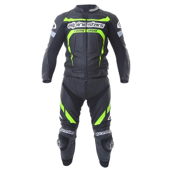 Alpinestars Claw 2pc Mens Black Green Leather Motorcycle Suit Front