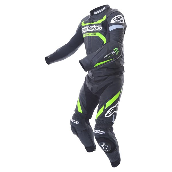 Alpinestars Claw 2pc Mens Black Green Leather Motorcycle Suit Racing crouch
