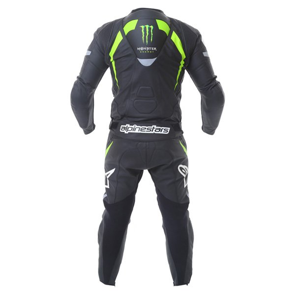 Alpinestars Claw 2pc Mens Black Green Leather Motorcycle Suit Back