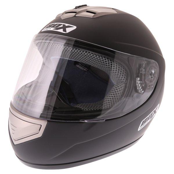 Box BX-1 Matt Black Full Face Motorcycle Helmet Front Left