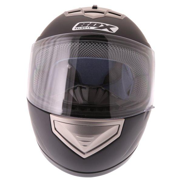 Box BX-1 Matt Black Full Face Motorcycle Helmet Front