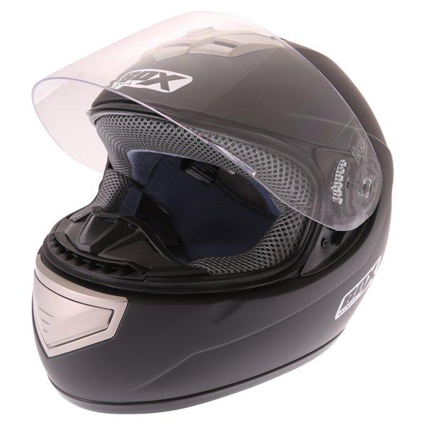 Box BX-1 Matt Black Full Face Motorcycle Helmet Visor Open