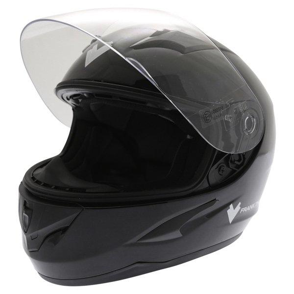 Frank Thomas FT36 Black Full Face Motorcycle Helmet Visor Open