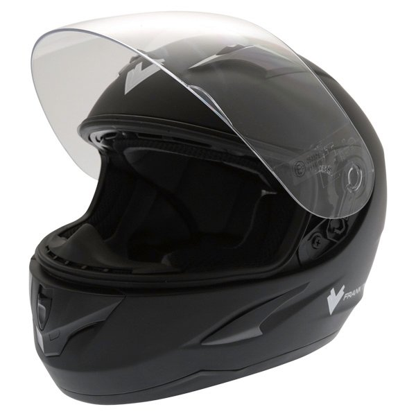 Frank Thomas FT36 Matt Black Full Face Motorcycle Helmet Visor Open