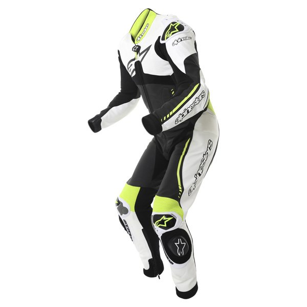 Alpinestars Atem 1pc Mens Black White Yellow Leather Motorcycle Suit Racing crouch