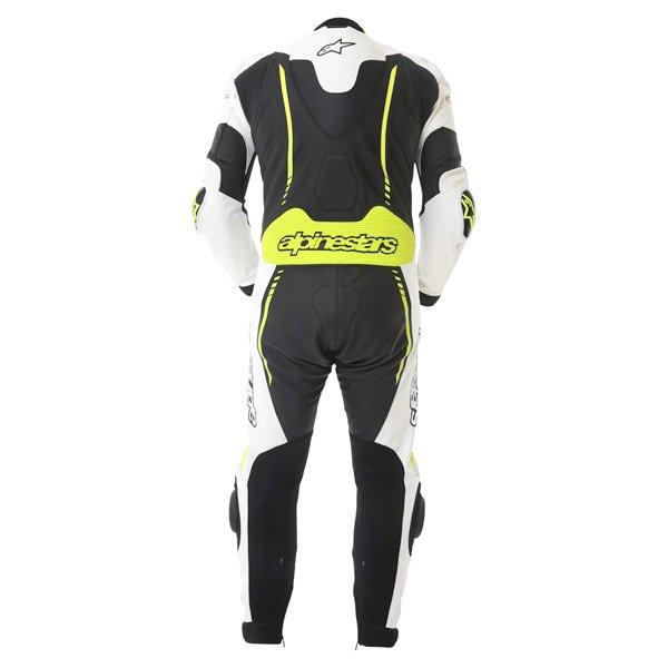 Alpinestars Atem 1pc Mens Black White Yellow Leather Motorcycle Suit Back