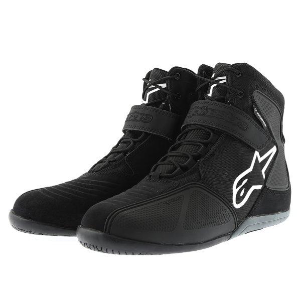 Alpinestars Fastback Waterproof Black White Gray Motorcycle Shoes Pair