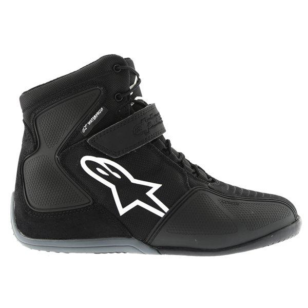 Alpinestars Fastback Waterproof Black White Gray Motorcycle Shoes Outside leg