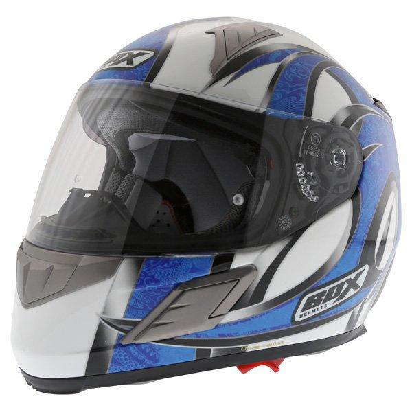 Box BZ-1 Dragon Blue MC-2 Full Face Motorcycle Helmet Front Left
