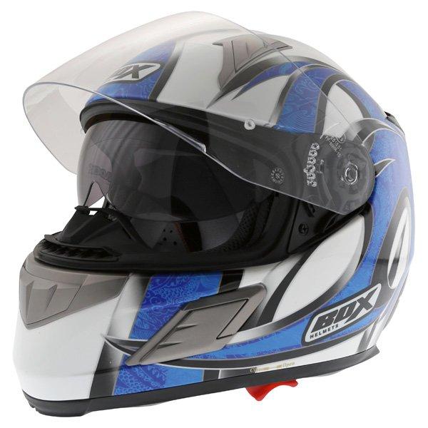 Box BZ-1 Dragon Blue MC-2 Full Face Motorcycle Helmet Open With Sun Visor