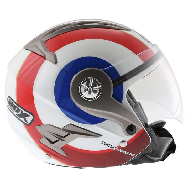 Box JZ-1 Urban Target Open Face Motorcycle Helmet Right Side