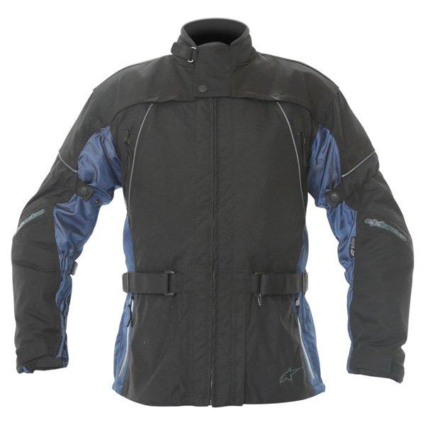 Alpinestars Space Drystar Mens Black Blue Waterproof Textile Motorcycle Jacket Front