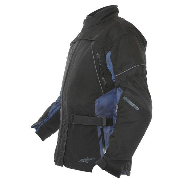 Alpinestars Space Drystar Mens Black Blue Waterproof Textile Motorcycle Jacket Side